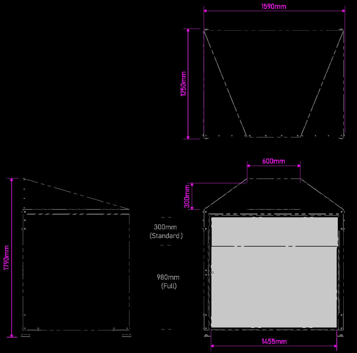 Μεταλλικός Κάδος Απορριμμάτων 1100 L Τεχνικές Διαστάσεις Πρόσοψη