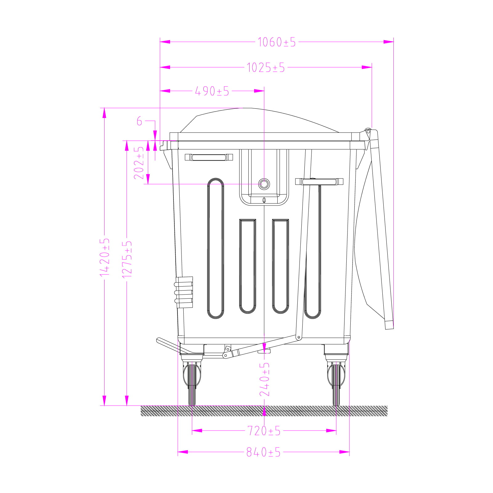 Metal Waste Container 1100 L Technical Drawings Side