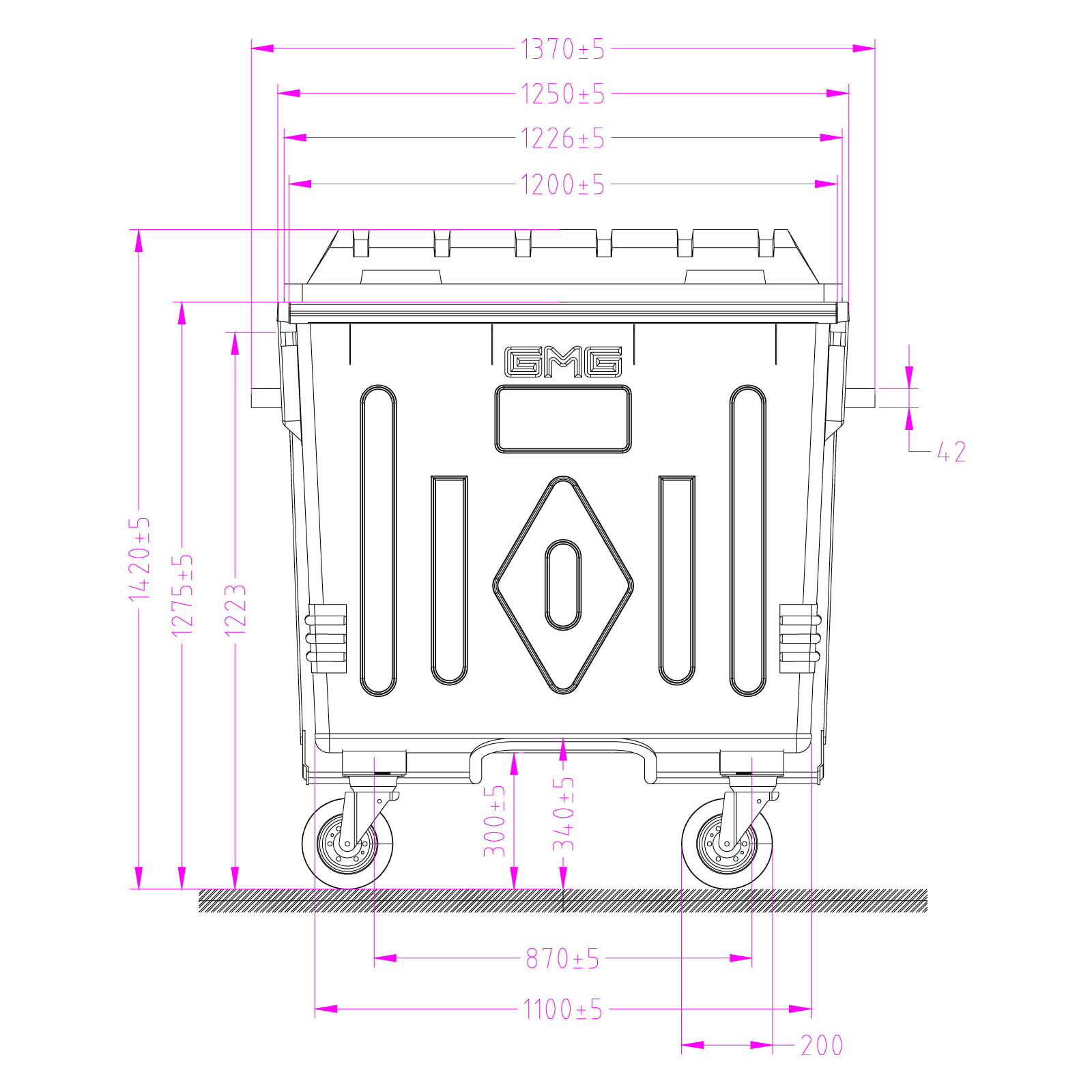 Metal Waste Container 1100 L Technical Drawings Front